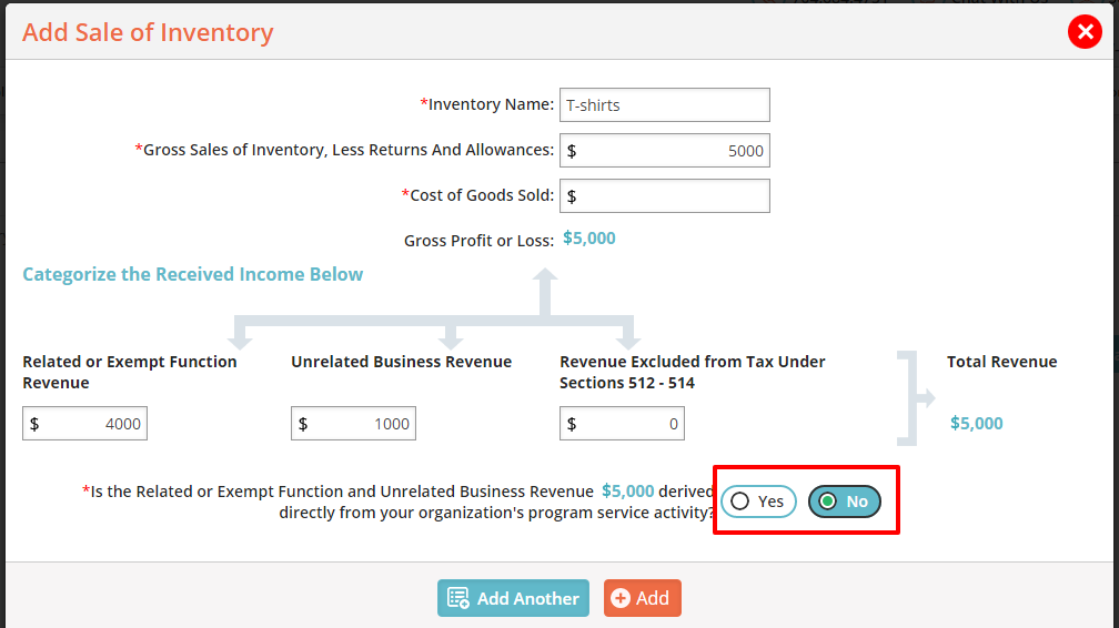 Unrelated Business Income - Add Sale of Inventory