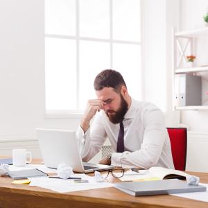 Stressed Man e-file income tax extension