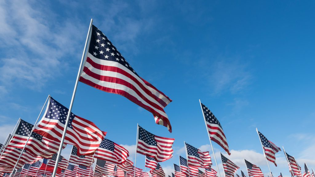 American Flags at VFW event