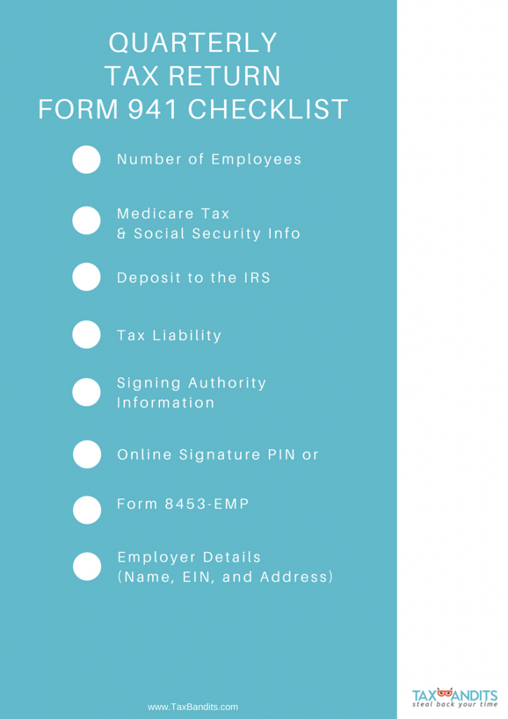 Form 941 for 2018 E-Filing Checklist