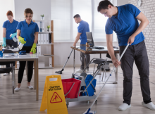 House cleaning team working at housekeeping jobs