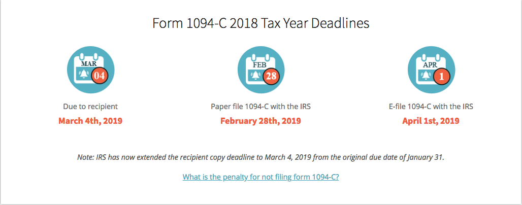 Form 1094 Deadlines for 2018 Tax Year